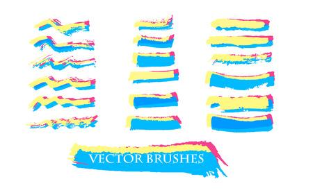 lineas decorativas: dibujado a mano decorativa colección cepillos de tinta. Vector brillante web banners. Conjunto de líneas de pintura.