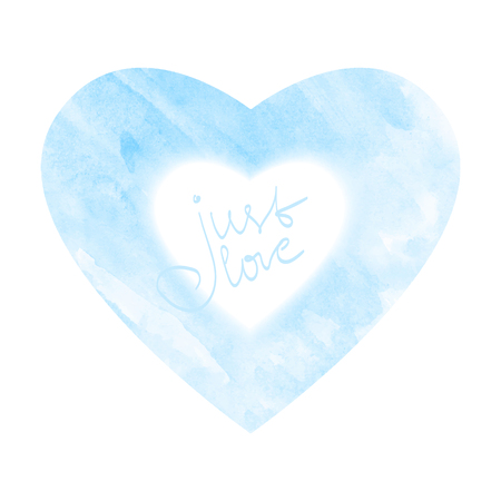 valentine s card: Blue watercolor heart icon. Love symbol for romantic decoration. Vector Valentine s card element. Illustration
