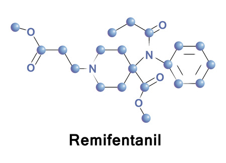 Remifentanil is a potent, short-acting synthetic opioid analgesic drug. Remifentanil is used for sedation as well as combined with other medications for use in general anesthesia. Illustration