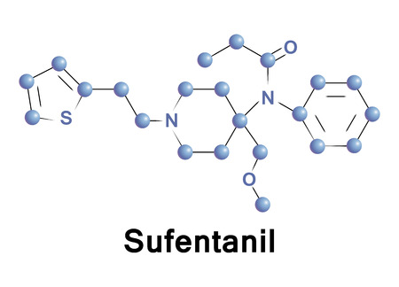 opioid: Sufentanil is a synthetic opioid analgesic drug. The main use of this medication is in operating suites and critical care where pain relief is required for a short period of time. Vector. Illustration