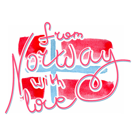 norway flag: From Norway with love hand lettering. Norwegian national flag as watercolor backdrop made in vector.
