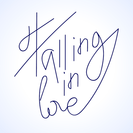 falling in love: falling in love lettering for st. valentines day promotion, illustration Stock Photo