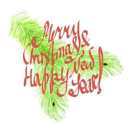 coniferous forest: Merry Christmas and Happy New Year, hand written on the xmas branch background. Vector winter season decoration.