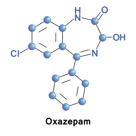 Oxazepam is a short-to-intermediate-acting benzodiazepine. Oxazepam is used for the treatment of anxiety and insomnia and in the control of symptoms of alcohol withdrawal. Stock Photo