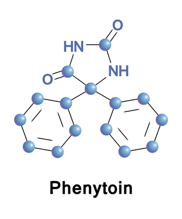 convulsion: La fenitoína es un medicamento anticonvulsivo. Es útil para la prevención de las convulsiones tónico-clónicas, convulsiones parciales, pero no las crisis de ausencia. Vector fórmula esquelético de la droga.