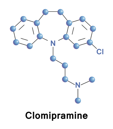 compulsive: Clomipramine is a tricyclic antidepressant (TCA). It is used for the treatment of obsessive compulsive disorder, panic disorder, major depressive disorder, and chronic pain. Vector structure of drug.