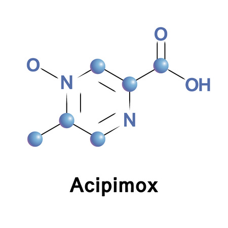 lowering: Acipimox is a niacin derivative used as a lipid-lowering agent. It reduces triglyceride levels and increases HDL cholesterol. Medical vector illustration.