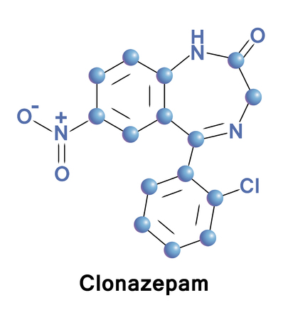 muscle relaxant: Clonazepam is a medication used to prevent and treat seizures, panic disorder, and for the movement disorder known as akathisia, a tranquilizer of the benzodiazepine class. Vector medical formula.