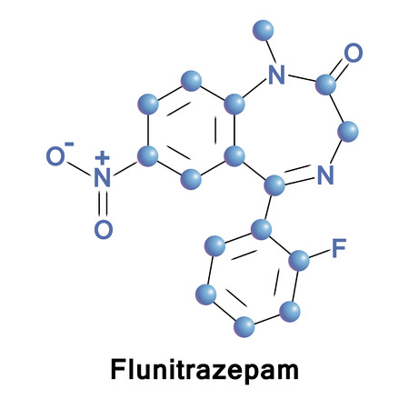 muscle relaxant: Flunitrazepam is an intermediate acting benzodiazepine used to treat severe insomnia and early in anesthesia, also has been referred to as a date rape drug. It leads to drug dependence. Vector formula