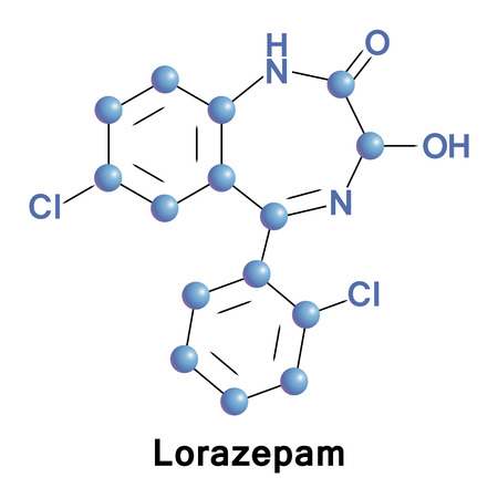 Lorazepam is a benzodiazepine medication. It is used to treat anxiety disorders, trouble sleeping, active seizures including status epilepticus, for surgery to interfere with memory formation. Stock Photo