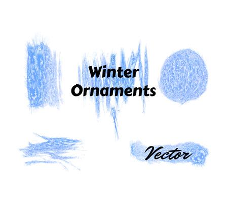 winter watercolor hoarfrost set in vector eps 10