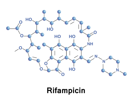 Rifampicin is an antibiotic used to treat a several types of bacterial infections. This includes tuberculosis, leprosy, and Legionnaires disease. Medical vector illustration.