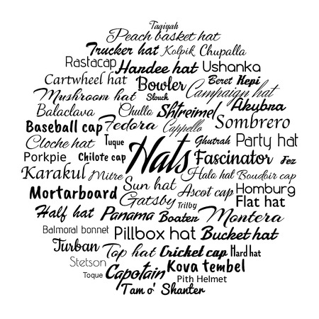 headwear: different hat styles word cloud.  illustration of variety headwear