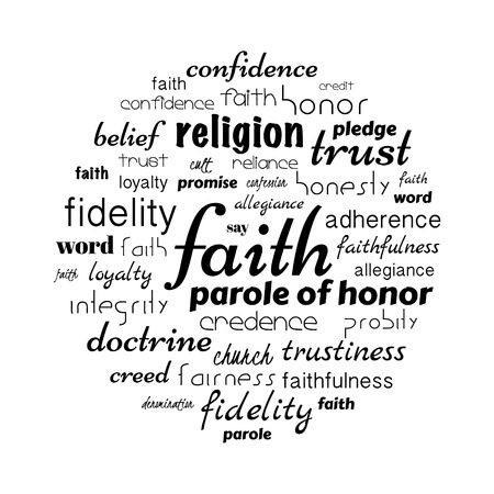 faith tag cloud, related aspects to believes in any doctrine.  illustration