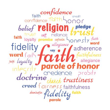 信仰タグクラウド、任意の教義と考えているに関連する側面。ベクトル図 写真素材