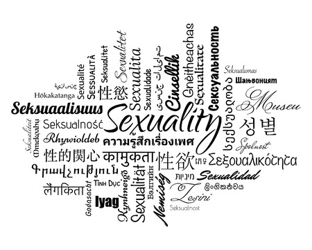 chinese sex: Sexuality wordcloud in different languages, vector illustration.