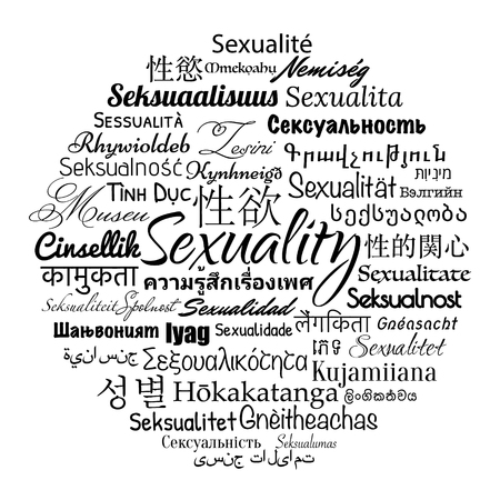 sexuality: Sexuality wordcloud in different languages, vector illustration.