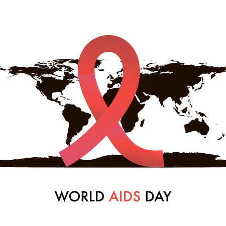 World Aids Day on 1st December. Symbol on the map silhouette Stock Photo