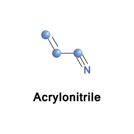 polymerization: Acrylonitrile is an organic compound consists of a vinyl group linked to a nitrile. It is a monomer for the manufacture of plastics such as polyacrylonitrile. It is reactive and toxic at low doses. Stock Photo