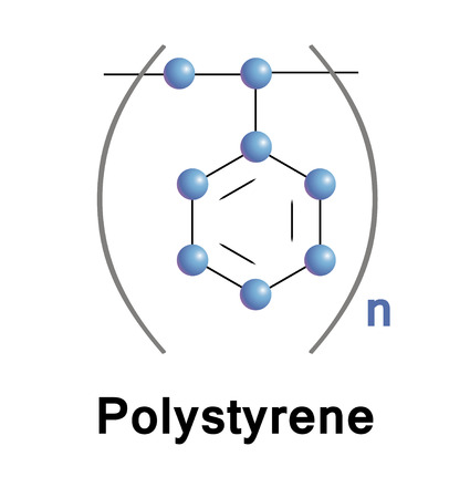 Polystyrene is a synthetic aromatic polymer made from the monomer styrene. General-purposed is clear, hard, and rather brittle. Vector industrial illustration. Stock Photo