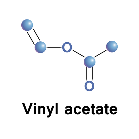 polymerization: Vinyl acetate is an organic compound that is the precursor to polyvinyl acetate. Molecular stylized formula made in vector.