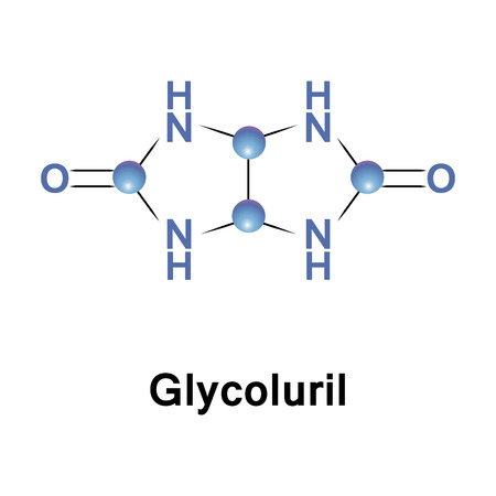 Glycoluril is an organic chemical composed of two cyclic urea groups joined across the same two-carbon chain. Stock Photo