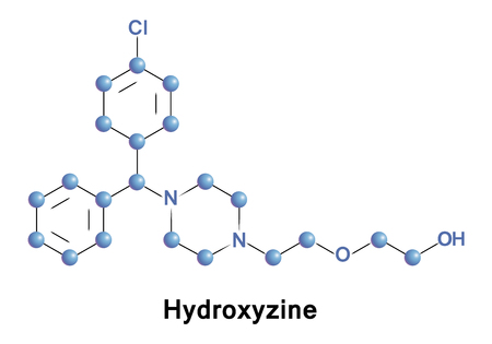 Hydroxyzine is a first-generation antihistamine of the diphenylmethane and piperazine class. Stock Photo