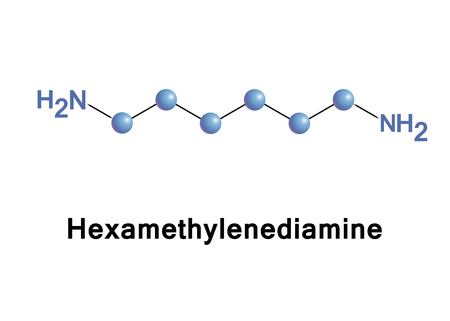 amine: Hexamethylenediamine is the organic compound. The molecule is a diamine, consisting of a hexamethylene hydrocarbon chain terminated with amine functional groups. Stock Photo