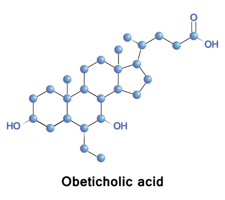 biliary: Obeticholic acid, INT-747, is a semi-synthetic bile acid analogue. It is undergoing development as a pharmaceutical agent for liver diseases and related disorders. Stock Photo
