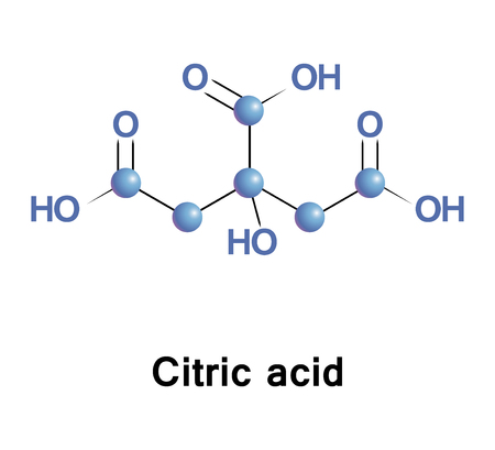 Citric acid is a weak organic tricarboxylic acid. It occurs in citrus fruits. In biochemistry, it is an intermediate in the Krebs cycle, which occurs in the metabolism of all aerobic organisms. Stock Photo
