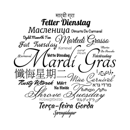 Mardi Gras holiday name translated to the different languages of the world. Typographic vector word cloud Stock Photo