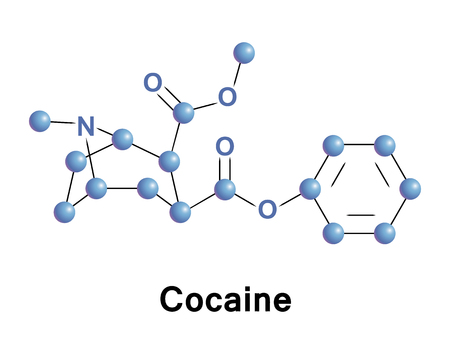 Cocaine is a strong stimulant used as a recreational drug. It is addictive due to the reward pathway in the brain. It acts by inhibiting the reuptake of serotonin, norepinephrine, and dopamine. Stock Photo
