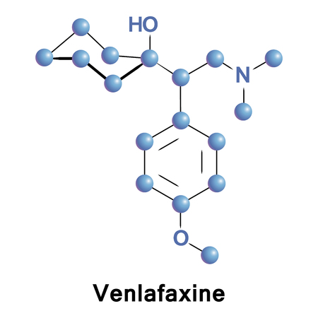 Venlafaxine is an antidepressant of the serotonin-norepinephrine reuptake inhibitor class. It ups concentrations of the neurotransmitters serotonin and norepinephrine in the body and the brain Stock Photo