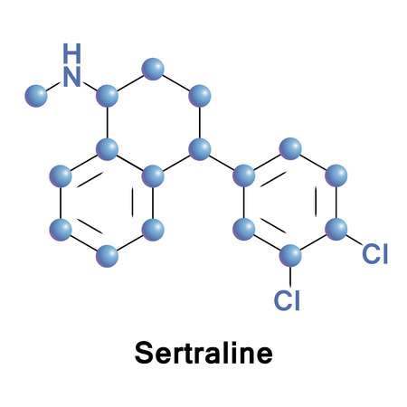 hysteria: Sertraline is an antidepressant of the selective serotonin reuptake inhibitor SSRI class.  It prescribes for different psychotic disorders Stock Photo