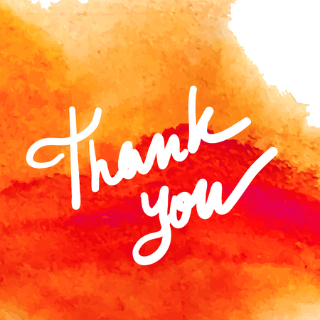 Thank you white hand writing on the vintage orange watercolor backdrop Stock Photo