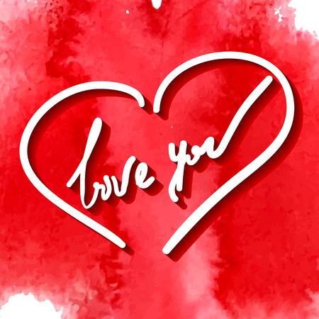 love you, hand writing in vector heart frame on the red stylized watercolor background Illustration