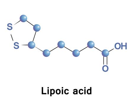 El ácido lipoico es un compuesto orgánico de azufre derivado del ácido octanoico. ALA se hace es esencial para el metabolismo aeróbico. Se fabrica y se encuentra disponible como un suplemento dietético y como antioxidante Foto de archivo - 71739380
