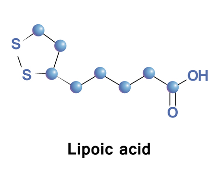 Lipoic acid is an organosulfur compound derived from octanoic acid. ALA is made is essential for aerobic metabolism. It is manufactured and is available as a dietary supplement and as an antioxidant Illustration