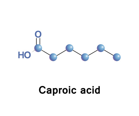 Hexanoic acid or caproic acid is the carboxylic acid derived from hexane with the general formula C5H11COOH. Illustration