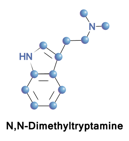 neurotransmitter: N,N-Dimethyltryptamine is a psychedelic compound of the tryptamines. It is a structural analog of serotonin and melatonin and a functional analog of such as 4-AcO-DMT, psilocybin, and psilocin Stock Photo