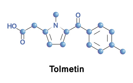 acetic acid: Tolmetin is a non-steroidal anti-inflammatory drug of the heterocyclic acetic acid derivatives. It is used to reduce pain, swelling, tenderness and stiffness in osteoarthritis and rheumatoid arthritis Stock Photo