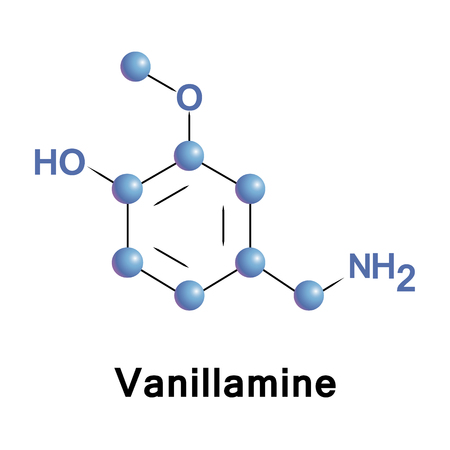 aldehyde: Vanillamine vector molecular structure, component of the extract of the vanilla bean.