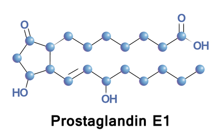 Prostaglandin E1, also known as alprostadil, is a prostaglandin which is used as a medication. In babies with congenital heart defects it is used by injection into a vein to open the ductus arteriosus Stock Photo