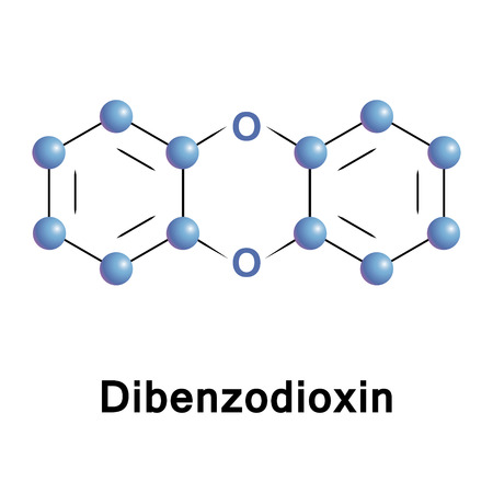 dibenzodioxin, is a polycyclic heterocyclic organic compound in which two benzene rings are connected by a 1,4 dioxin ring. Stock Photo