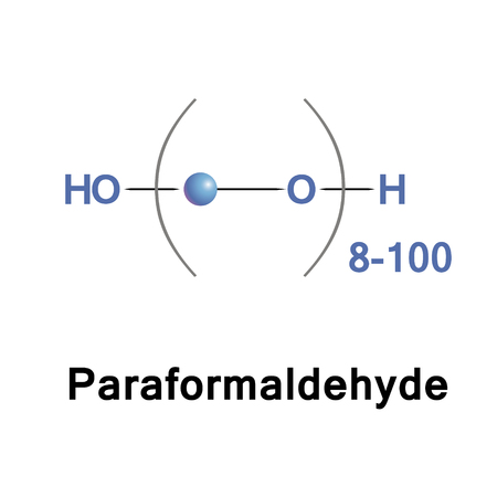 Paraformaldehyde, PFA, is the smallest polyoxymethylene, the polymerization product of formaldehyde with a typical degree of polymerization of 8 to 100 units. It is a poly acetal. Stock Photo