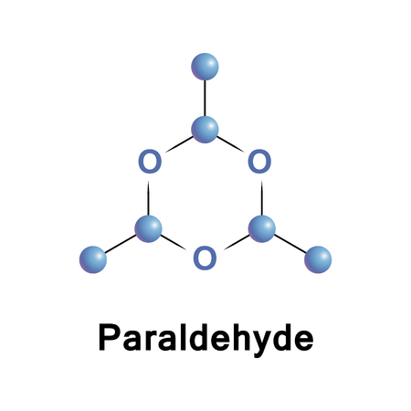 Paraldehyde is the cyclic trimer of acetaldehyde molecules. Formally, it is a derivative of trioxane.