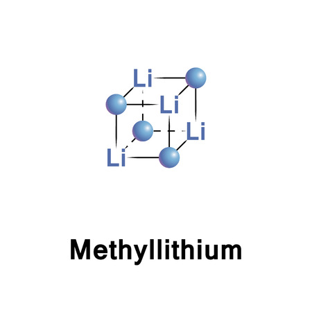 Methyllithium is the simplest organolithium reagent with the empirical formula CH3Li. This s block organometallic compound adopts an oligomeric structure both in solution and in the solid state Stock Photo