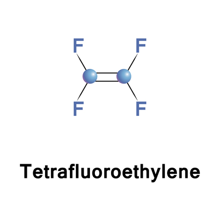 Tetrafluoroethylene, chemical compound with the formula C2F4. It belongs to the family of fluorocarbons and is the simplest perfluorinated alkene. It is used in the industrial preparation of polymers Stock Photo