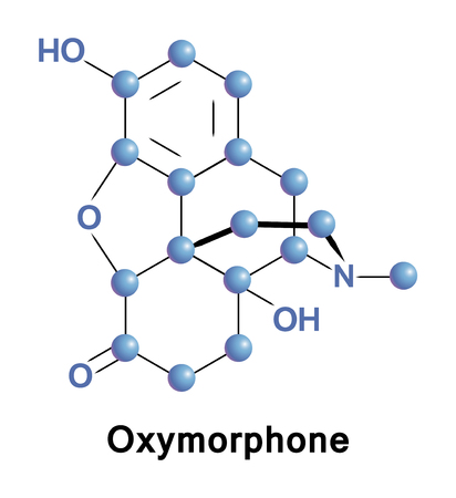 Oxymorphone è un potente analgesico oppioide semi-sintetico, antidolorifico. Illustrazione medica vettoriale