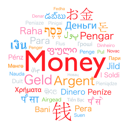 Money word translated to the languages of the world. Illustration